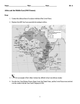 World History - Africa and the Middle East (1945-Present) Essay Questions