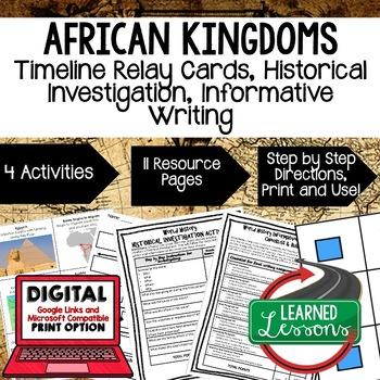 World History African Kingdoms Timeline & Writing Activiti