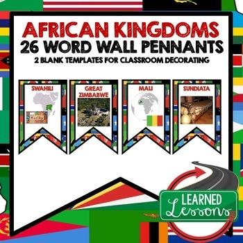 World History African Kingdoms Word Wall Pennants