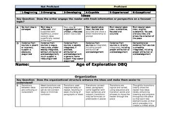 World History: Age of Exploration DBQ RUBRIC AND CHECKLIST