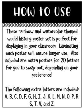 World History Alphabet Poster Set
