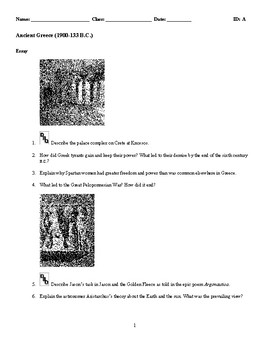World History - Ancient Greece (1900-133 B.C.) Discussion/Essay Questions