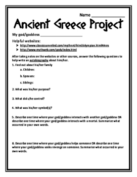 History Ancient Greece Project Greek God & Goddess Project Greek Project