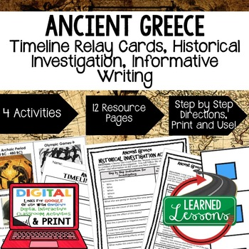 World History Ancient Greece Timeline & Writing Activities