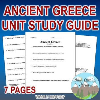 Ancient Greece Unit Study Guide (World History / Ancient History)