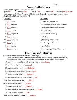 Ancient Rome Latin Root Words Worksheet Grammar Latin Roots Worksheet