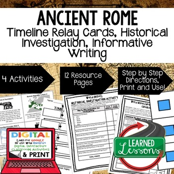 World History Ancient Rome Timeline & Writing Activities w