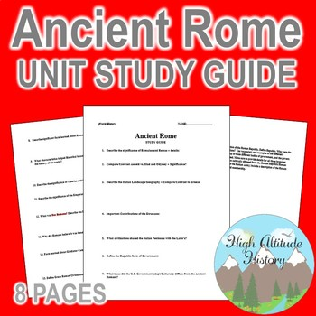 Ancient Rome Unit Study Guide (World History)