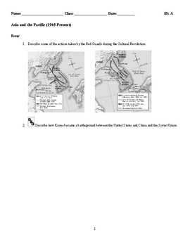 World History - Asia and the Pacific (1945-Present) Discussion/Essay Questions