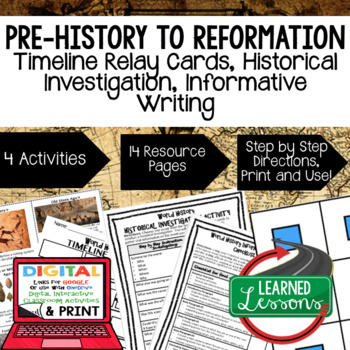 World History Asian Empires Timeline Relay & Writing Activities with Google Link