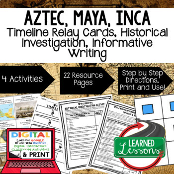 World History Aztec, Maya, Inca Timeline & Writing Activities with Google Link