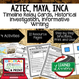 World History Aztec, Maya, Inca Timeline & Writing Activit