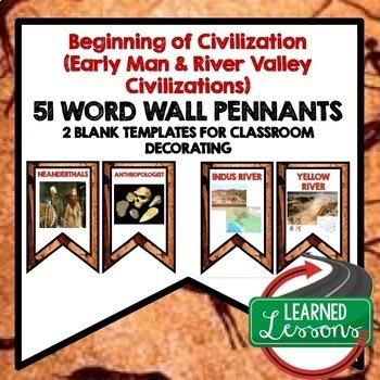 World History Beginning of Civilization Pennant Word Wall