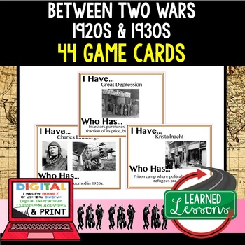 World History Between Two Great Wars 44 I Have Who Has Game Cards