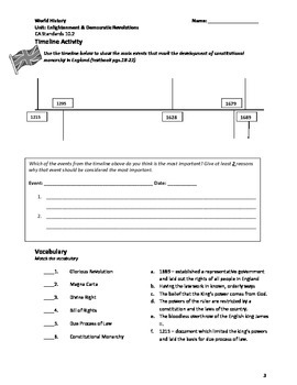 World History (CA) Democratic Revolutions Unit Packet (Student) 2013
