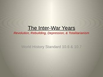 World History (CA) Inter-War Years (1919-1936) Unit PowerPoint 2013