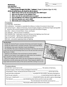 World History (CA) World War I Unit Packet (Student)