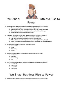 World History: China, Wu Zhao Reading and SAT Style questions