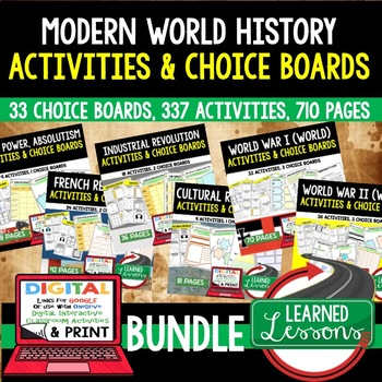 World History Choice Board Activities BUNDLE (Paper & Goog