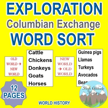 Colombian Exchange Word Sort (Exploration / World History)