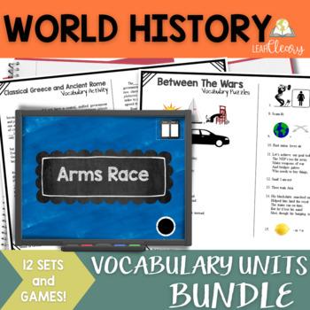World History Complete Vocabulary Units Bundle: 12 Units!