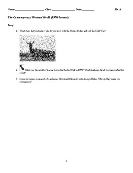 World History - Contemporary Western World (1970-Present) Essay Questions