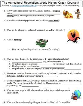 Crash Course World History 1 Agricultural Revolution Worksheet