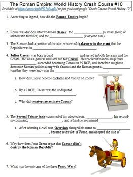 World History Crash Course #10 (The Roman Empire) worksheet