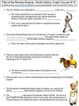 Crash Course World History #12 (Fall of the Roman Empire) worksheet