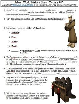 World History Crash Course #13 (Islam) worksheet
