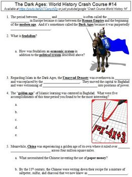 Crash Course World History 14 The Dark Ages Worksheet By Danis
