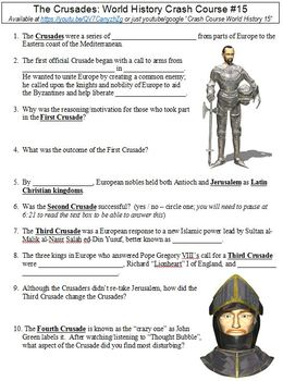 Crash Course World History 15 The Crusades Worksheet By Danis