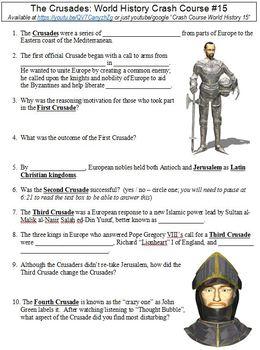 World History Crash Course #15 (The Crusades) worksheet