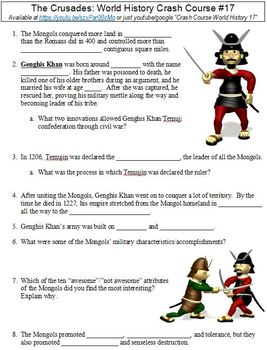 World History Crash Course #17 (The Mongols) worksheet