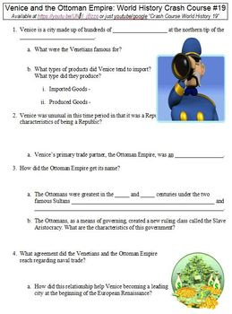 Crash Course World History #19 (Venice and the Ottoman Empire) worksheet