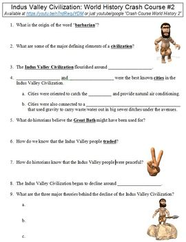 World History Crash Course #2 (Indus Valley Civilization) worksheet
