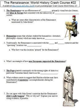 Crash Course World History #22 (The Renaissance) worksheet ...