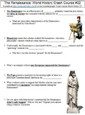 World History Crash Course #22 (The Renaissance) worksheet