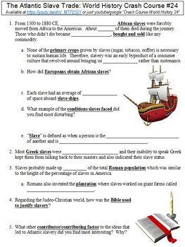World History Crash Course #24 (The Atlantic Slave Trade) worksheet