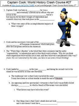 Crash Course World History #27 (Captain Cook) worksheet