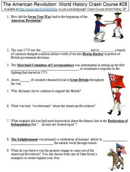 Crash Course World History #28 (The American Revolution) worksheet