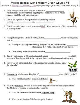 World History Crash Course #3 (Mesopotamia) worksheet