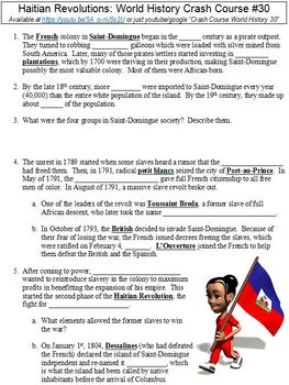 World History Crash Course #30 (Haitian Revolutions) worksheet