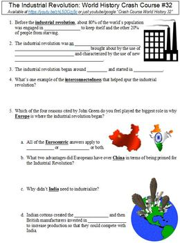 Crash Course World History #32 (The Industrial Revolution) worksheet