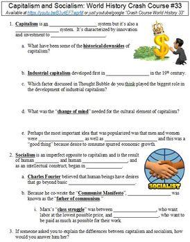 World History Crash Course #33 (Capitalism and Socialism) worksheet