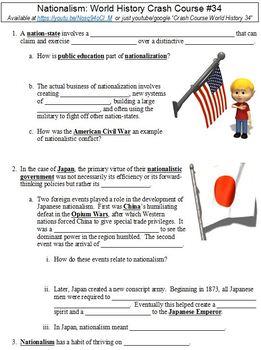Crash Course World History 34 Nationalism Worksheet By Danis Marandis