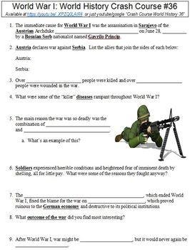 World History Crash Course #36 (World War I) worksheet