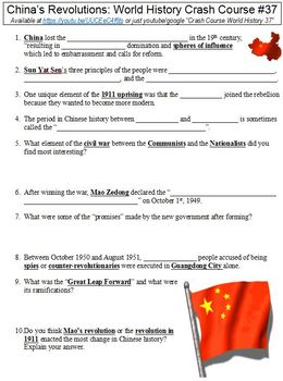 World History Crash Course #37 (China's Revolutions) worksheet
