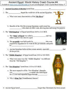 World History Crash Course #4 (Ancient Egypt) worksheet