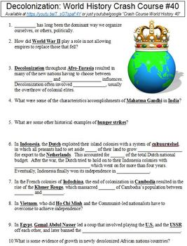 World History Crash Course #40 (Decolonization) worksheet